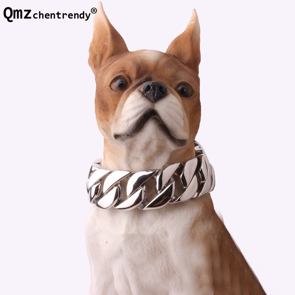 23mm/30mm Width Heavy bulldog Dog Collar Durable Outdoor Chain Stainless Steel Pet Dog Chain Training Collar Choker Necklaces цена