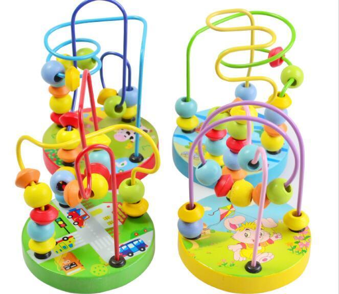 Montessori Beads Toy For Baby Kids Colorful Wooden Mini Around Beads Wire Maze Math Toy