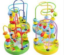 モンテッソーリビーズのおもちゃベビーキッズカラフルな木製ミニビーズアラウンドワイヤー迷路数学おもちゃ幼児教育モデルクリスマスギフト