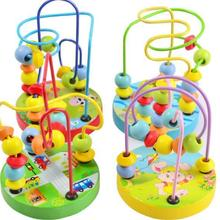 Montessori Beads Toy For Baby Kids Colorful Wooden Mini Arou