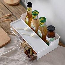 Plastic Seasoning Box For Kitchen With Spoon Organizer Salt Bottle Set Jar Transparent Storage Container Sauce Rack Pepper Cumin