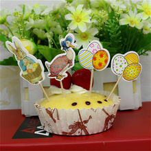 24pcs Easter Bunny Egg Cake Topper Paperboard 4 Patterns Cupcake Toppers Wedding Birthday Easter Decoration For Home