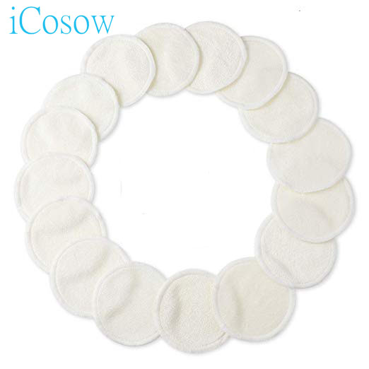 iCosow Reusable Makeup Remover Pads 20 Packs, Washable Organic Bamboo Cotton Rounds, Toner Pads, Facial Soft Cleansing Wi