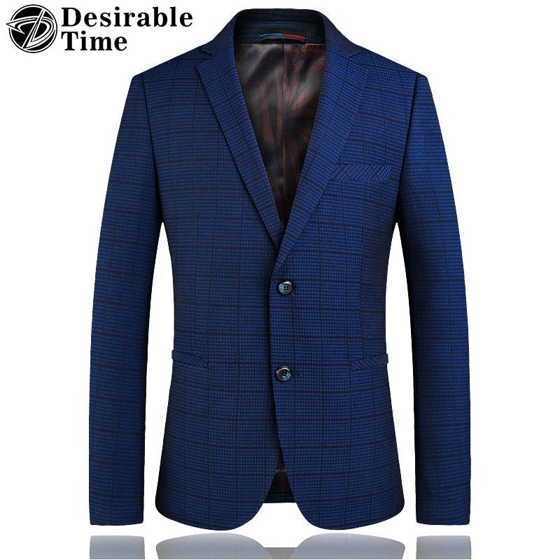 Desirable Time Mens Blue Plaid Blazer Jacket Fashion 2018 Men