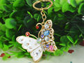 T Butterfly Fashion Beauty Keyring Rhinestone Crystal Charm Pendant Car Key Bag Chain Gift