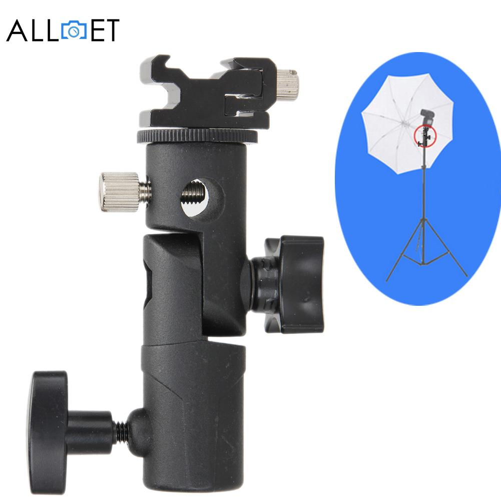 New Light Bracket Stand Type E Swivel Flash Hot Shoe Umbrella Holder With 1/4 to 3/8 Screw Mount For Photo Studio Accessories new swivel flash hot shoe umbrella holder mount adapter for studio light stand bracket type e