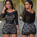 Black Floral Lace Women Shorts Bodycon Jumpsuit Romper Bodysuit Party Clubwear