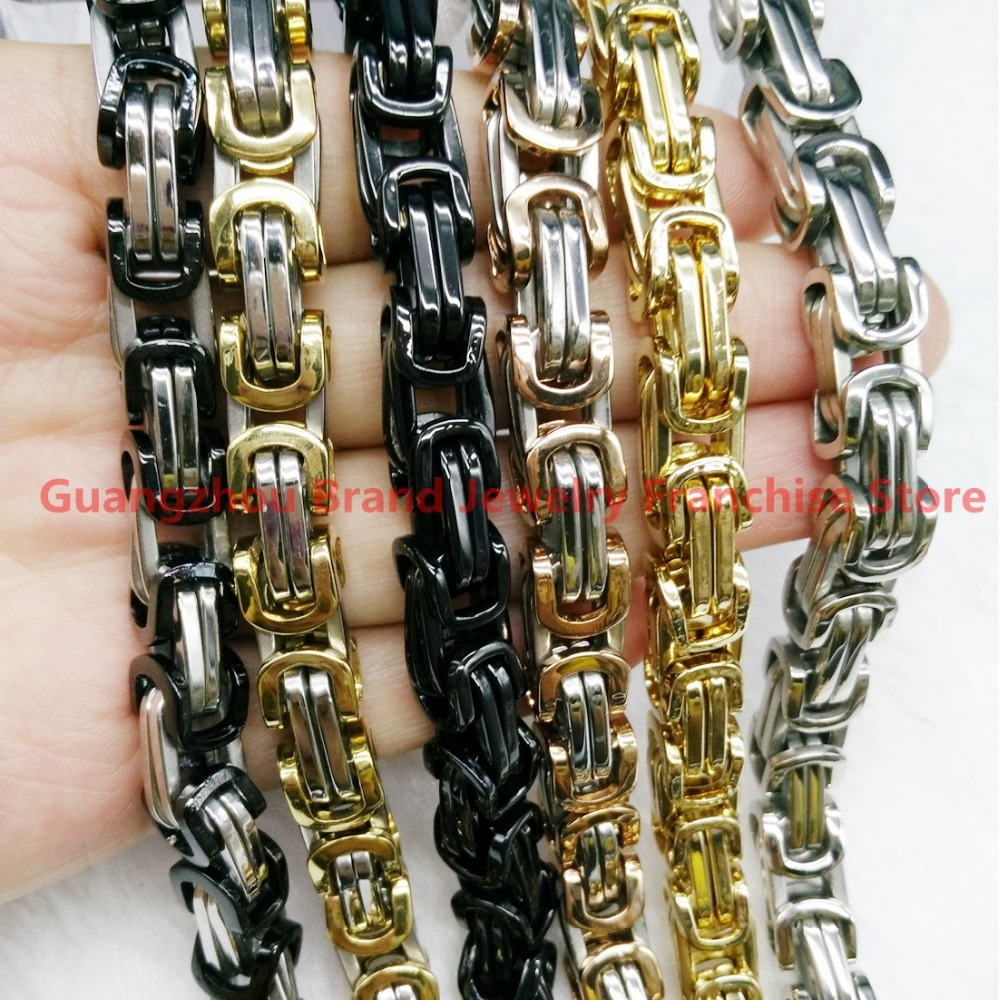 Pure Handmade 7-40 Fashion Jewelry 316L Stainless Steel Multi-Color Byzantine Chain Neklace&Bracelet Bangles For Men Boy 8mm ...