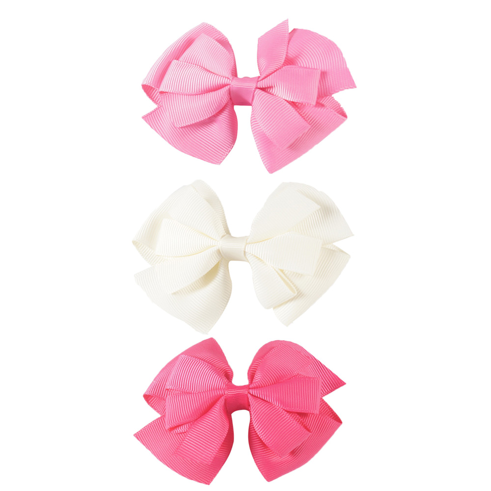 3 Pcs/lot 5 Colors 4'' Solid Grosgrain Ribbon Hair Bows With Clip Pink White Hairbow For Girl Children Hair Accessories 10pcs lot high quality hair band with grosgrain ribbon flower for girls handmade flower hairbow hairband kids hair accessories