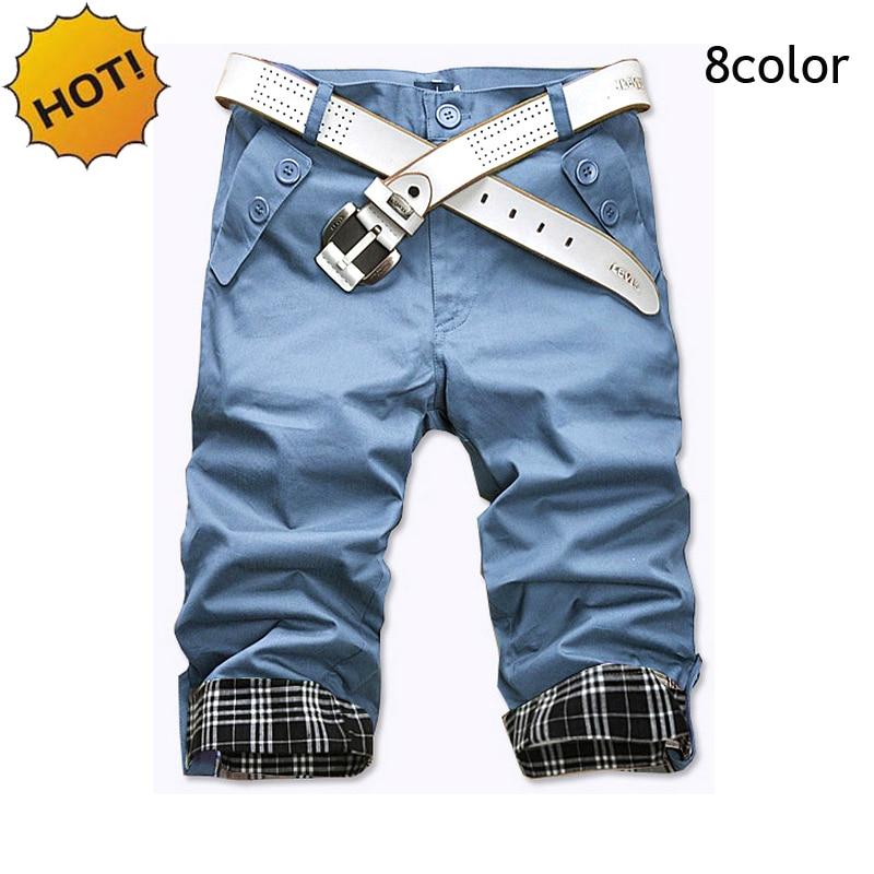 HOT 2016 Fashion Casual City Street Wear Student Boys Hip Hop Harem Shorts Men Button Cuffs Slim Fit Cotton Twill Short 8color