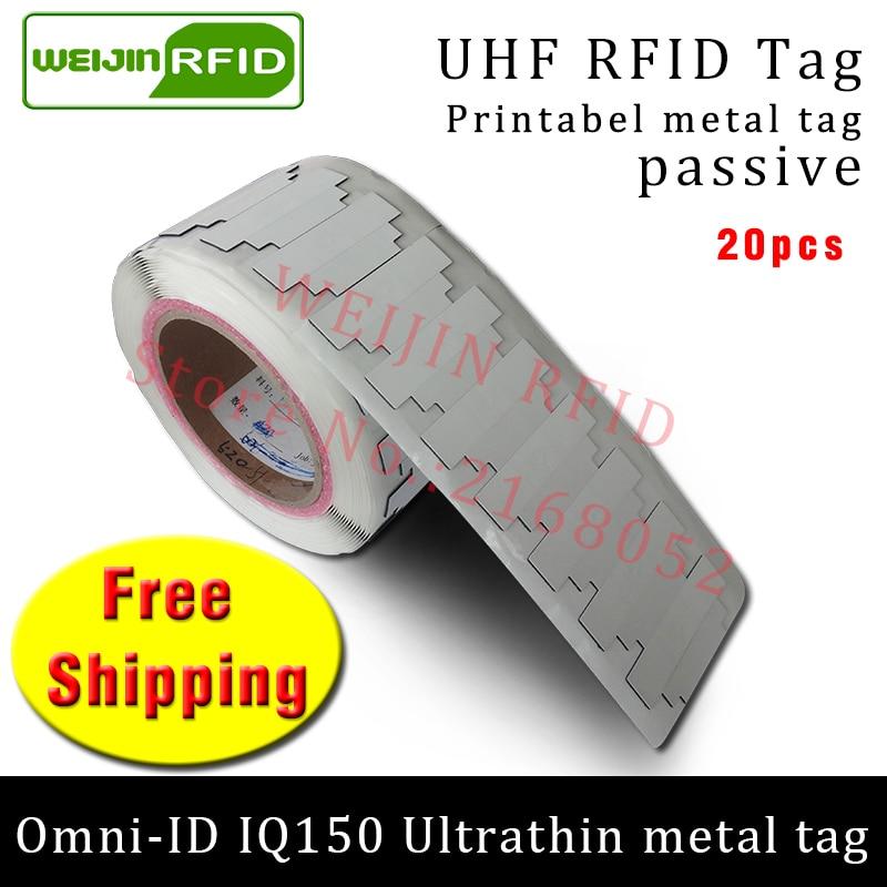 UHF RFID ultrathin metal tag omni-ID IQ150 915m 868m Impinj MR6 EPC 20pcs free shipping printable synthetic passive RFID label