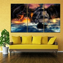 Modular Pictures For Living Room Home Decorative One Set 3 Piece Ship And Black Dragon Painting Modern Wall Picture Framework