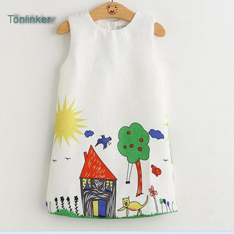 Tonlinker Girls Spring Autumn vest Dress Print house Love Home Graffiti Design for Baby Teenage Clothes 3-8Years