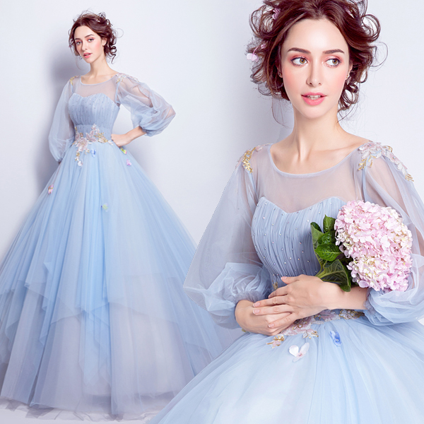 Fairy sky blue long sleeve sweat lady girl women princess bridesmaid  banquet party ball dress gown a637214b9ebc