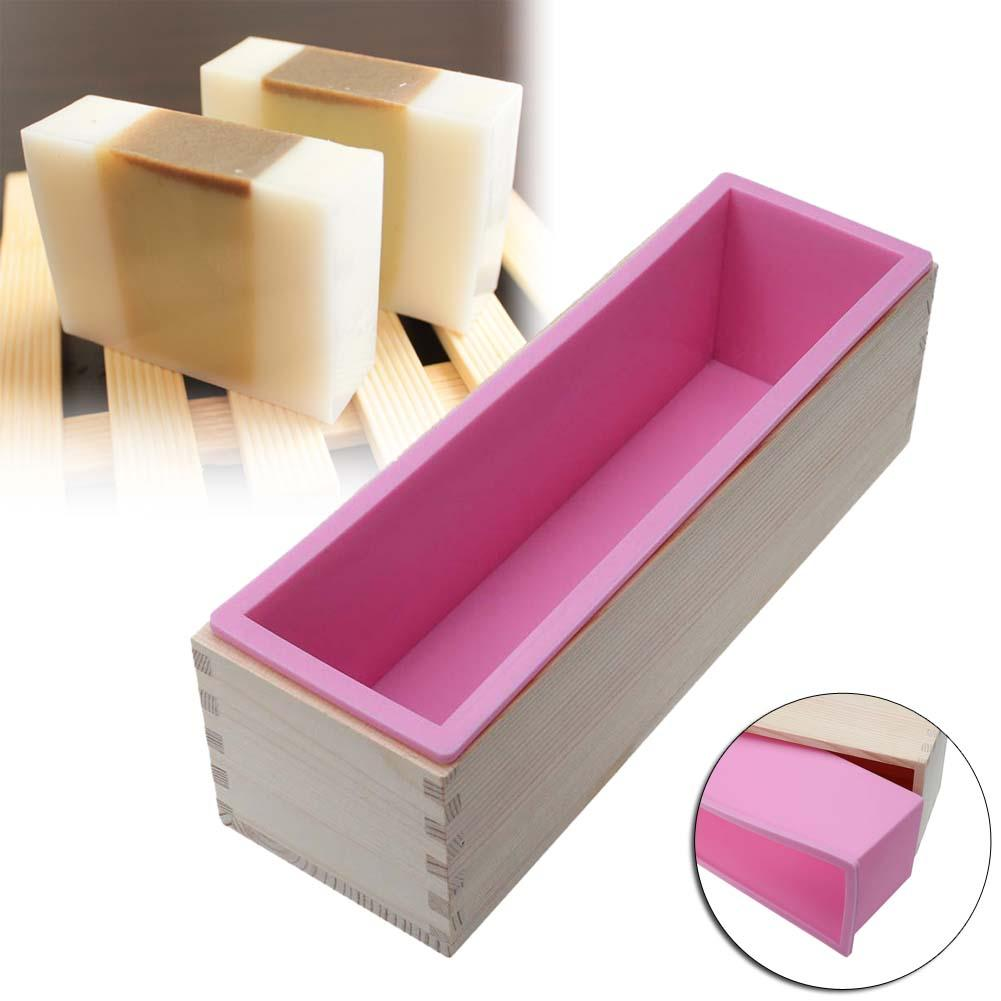2016 Newest 1200g Rectangle Silicone Soap Loaf Mold Wooden Box with Silicone Liner DIY Making Loaf