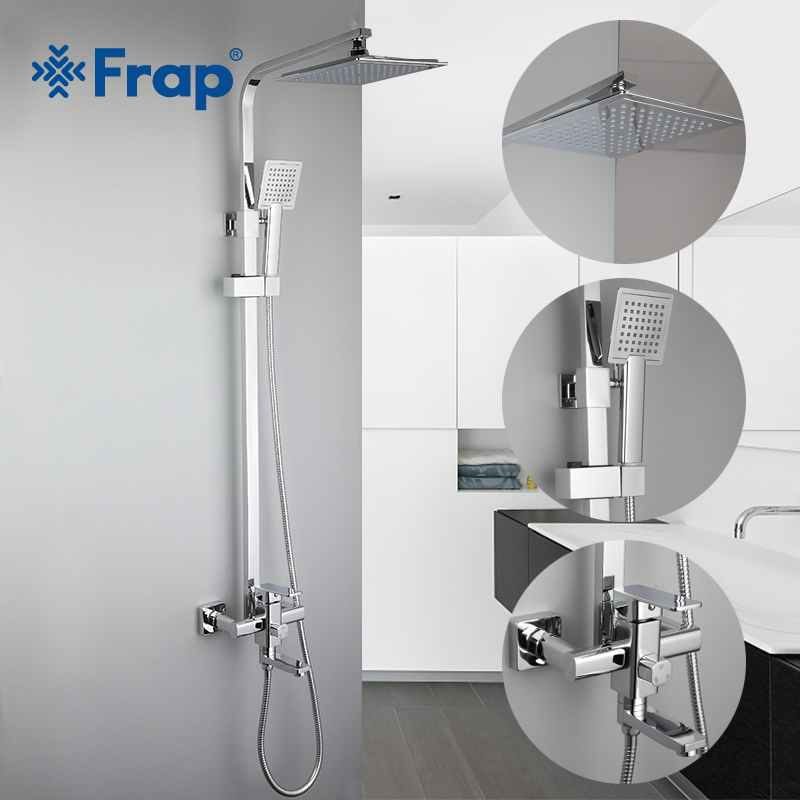 Frap Bathroom Luxury Rainfall Shower Faucet Set Single Handle Mixer Tap With Hand Sprayer Wall Mounted