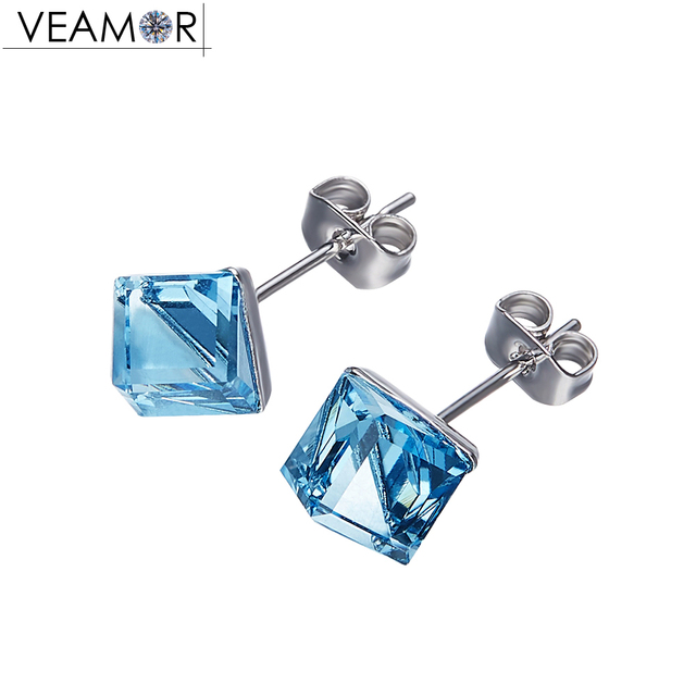 ca0a2e98c Veamor Austrian Crystal Cube Stud Earrings Blue Crystals Square Earrings  For Women Gift Copper Alloy Fashion Female Brincos
