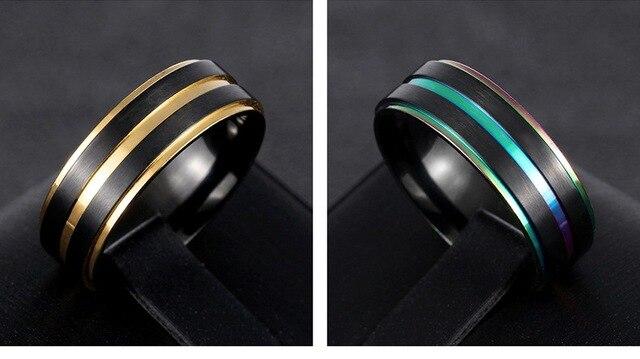 Фото рекомендуемые модные мужские кольца из нержавеющей стали черного цена