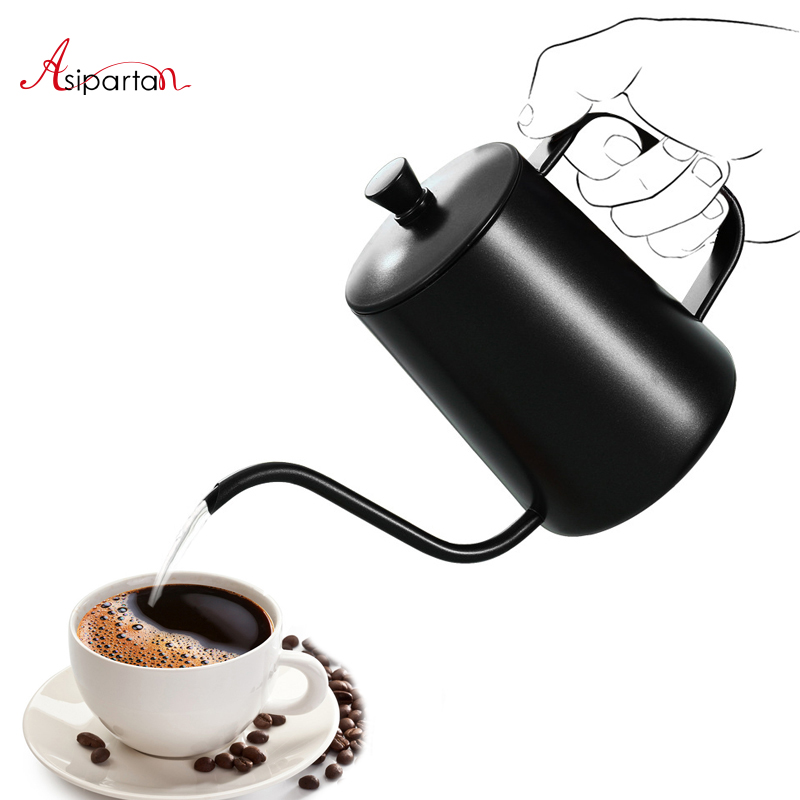 Asipartan 600ml Stainless Steel Coffee Pots Gooseneck Fine Mouth Kettles Teflon Coating Coffee Percolator Drip Pot Coffeeware