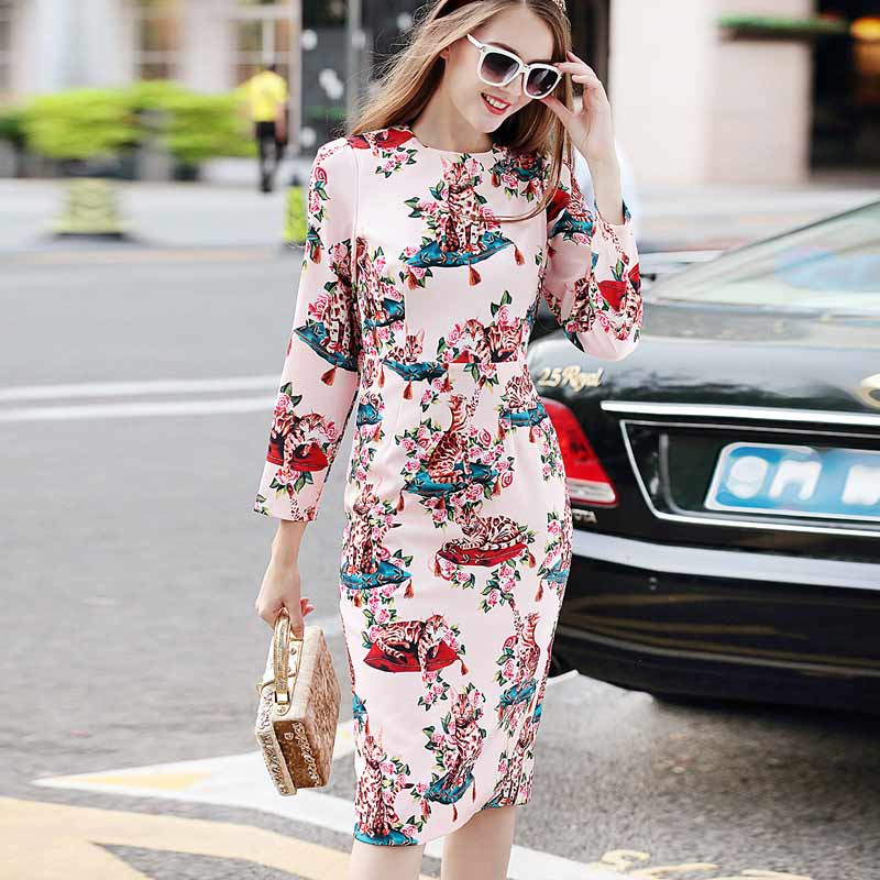 XF New Shop Special High Quality Summer Designer Roses Blossom Prints Printing WomenS Long Sleeves Plus Size Vintage Dress