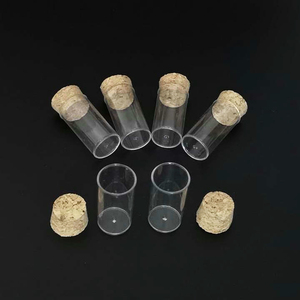 Image 2 - 100 pz/lotto 24x45 millimetri della Parte Inferiore Piana di Plastica Fiale di Drosophila tubo di cultura, provette di plastica Con Grado Alimentare Tappi di Sughero