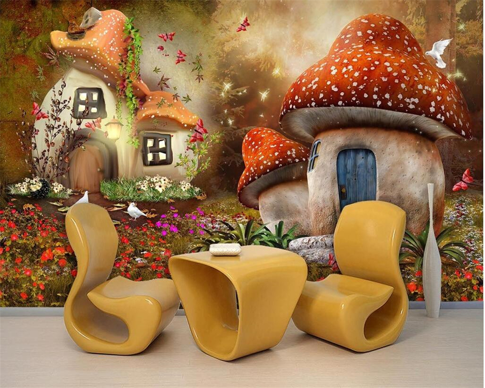 Beibehang Modern 3d wallpaper  fairy tale world mushroom house children room TV 3d living room background wall photo wallpaper vinyl photography background fairy tale