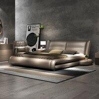 Рама DYMASTY натуральная кожа мягкая кровать современный дизайн кровать/king/queen size кровать Кама