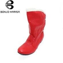 BONJOMARISA Vente Grande Taille 34-47 Bottes de Neige Femmes Chaud D'hiver De Fourrure chaussures Noir Rouge Mode Moitié Genou Bottes Femme Hiver Chaussures XB663