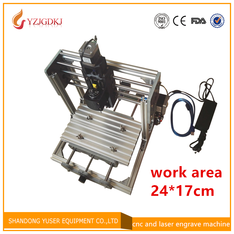 CNC 2417 GRBL control Diy high power laser engraving CNC machine,3 Axis pcb Milling machine,Wood Router laser and cnc double use 1610 mini cnc machine working area 16x10x3cm 3 axis pcb milling machine wood router cnc router for engraving machine