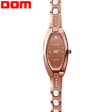 DOM 2016 Women Tungsten Steel Luxury Watch Women Business Watches Waterproof Watch Fashion Vintage Simple Women