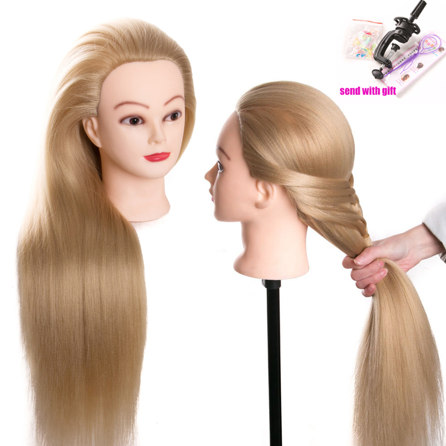 Head Dolls For Hairdressers 80 Cm Hair Synthetic Mannequin Head Hairstyles Female Mannequin Hairdressing Styling Training Head