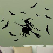 newest Halloween Broom Sorcerer Wizard Bats home decor wall stickers funny party kids room decal sticker shop decoraion art