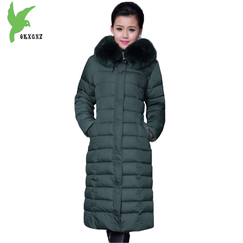 New Women Winter Down Cotton Lengthened Coat Plus Size 5XL Fashion Hooded Fur Collar Thicker Warm Mother Slim Jacket OKXGNZ A923 new winter women cotton jackets solid color hooded long coat plus size fur collar thicker warm slim casual outerwear okxgnz a795