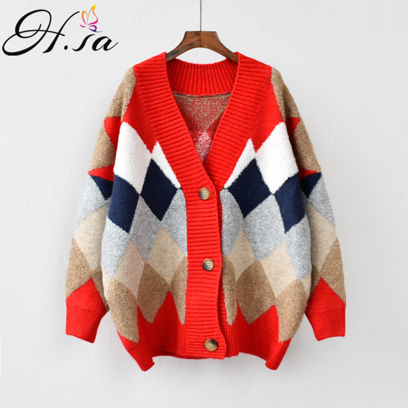 H.SA Women Spring New Sweater Cardigans V Neck Geometric Warm Poncho Jumpers Loose Style Oversized Knit Overcoat Outerwear Tops