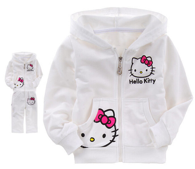 e457f32e7 Baby girls clothing set Children kids Sport Suit Spring Autumn Hello Kitty  cartoon hooded jacket White Color