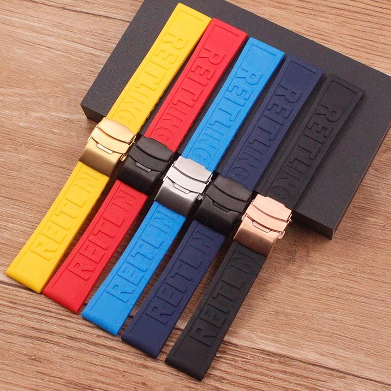 Acessórios do relógio aplicável para breitling pulseira de relógio com silicone borracha vingadores 22 24 mm sea wolf blackbird dobrável fivela