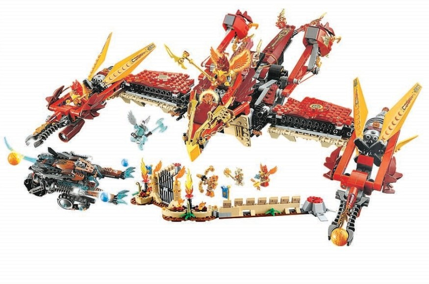 Bela Chimaed 10298 Flying Phoenix Fire Temple 1300pcs  toys building blocks movie Compatible with LXgo