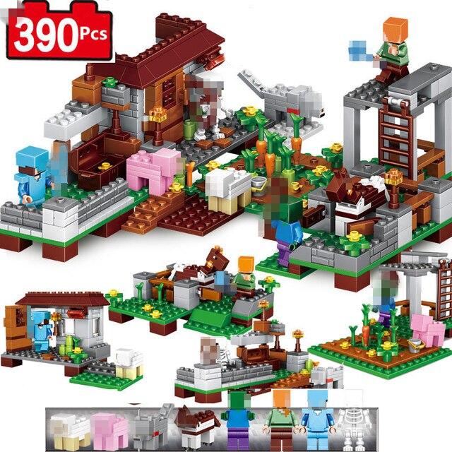 Minecrafted Vila Modelo Figuras Blocos de Construção Compatível LegoING Minecrafted Steve Set Iluminai Bricks Brinquedo Para Crianças