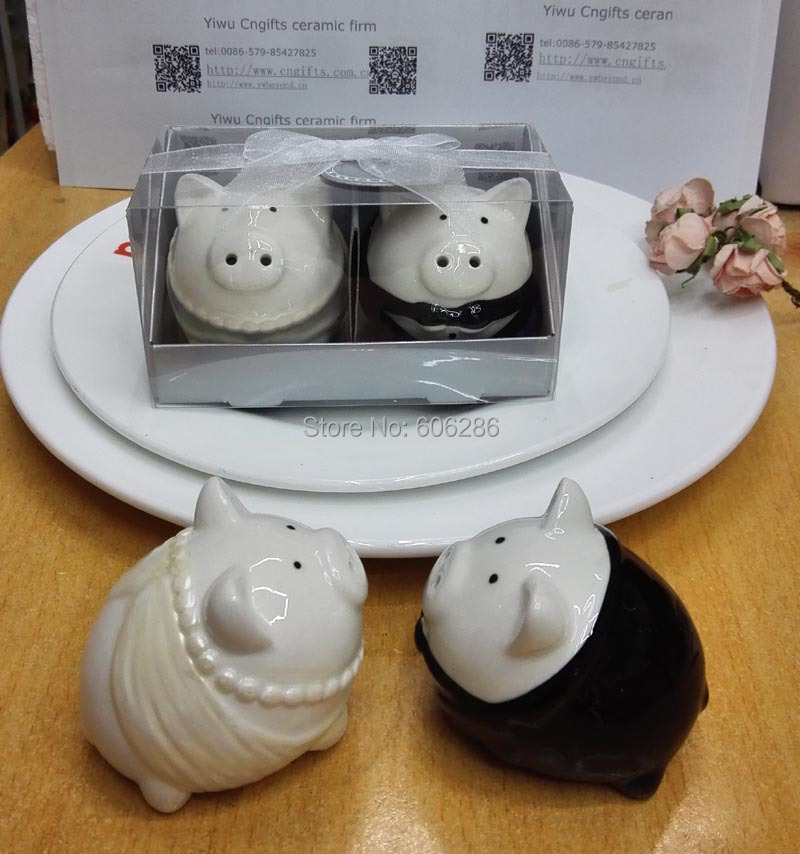 Wedding Gifts For Bride And Groom In Singapore : SG 100sets/lot Bridal Shower Favor of Pig Bride and Groom Salt and ...