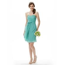 0bf476a683a LAN TING BRIDE Sheath   Column Strapless Sweetheart Knee Length Chiffon  Bridesmaid Dress with Flower Criss