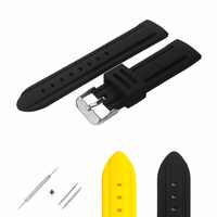 YQI High Quality Silicone Watch Strap 20mm 22mm 24mm Watch Band Black Yellow Soft Watchband Waterproof for Men Wrist Watch