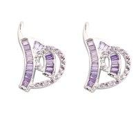 Handsome Purple Amethyst 2 2mm Semi Precious Silver Cool For Womens Stud Earrings ED0449