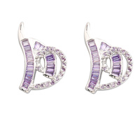 Handsome Purple Amethyst 2 2mm Semi Precious Silver Cool For Womens Stud Earrings ED0449