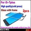 2 unids prensado en frío exterior de cristal con marco medio bisel para iphone 6 6 s 6g 6 s 7 plus pre-ensamblados lente de cristal frontal con marco