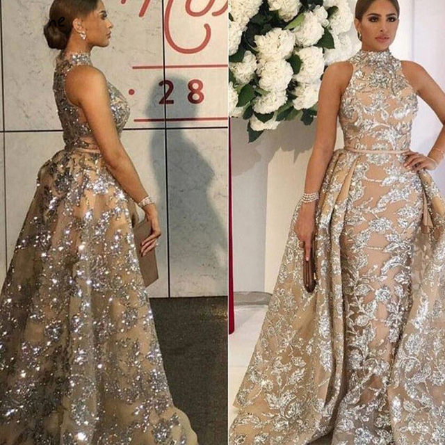 Luxury Evening Dresses Long 2019 Mermaid Sparkly Glitter Sequin with Detachable Skirt Saudi Arabic Formal Prom Evening Gown