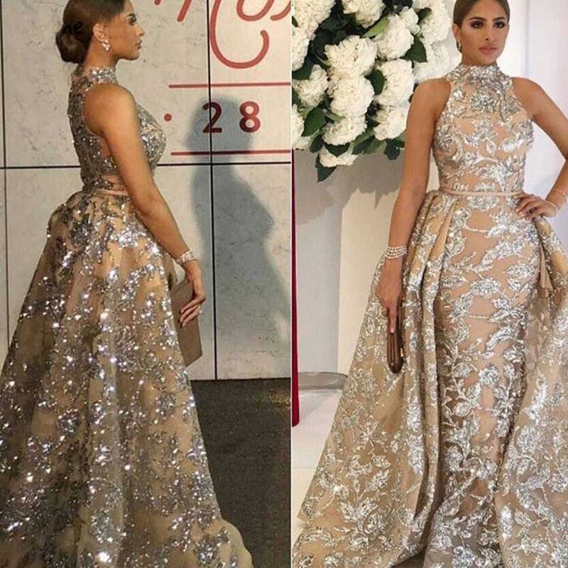 7ed6b51af0 Luxury Evening Dresses Long 2019 Mermaid Sparkly Glitter Sequin with  Detachable Skirt Saudi Arabic Formal Prom Evening Gown