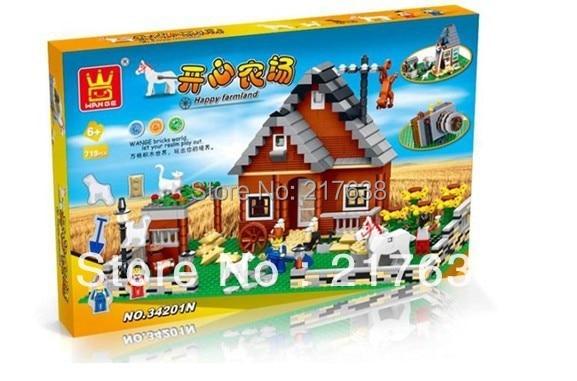 Free shipping. DIY Educational toys,No. 34201N WANGE FARM  719pcs assembles particles block toys