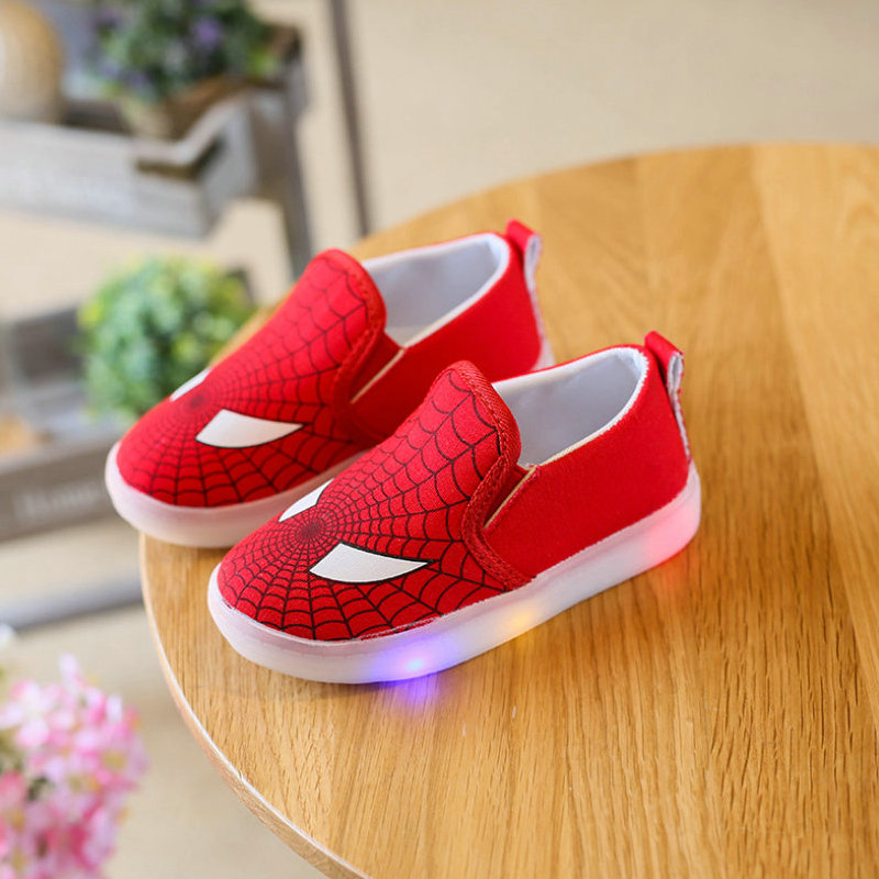 Children LED Shoes 2017 New Toddler Design Printed Cartoon Shoes Kids Casual Sneakers Flashing
