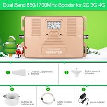 Inteligente de DOBLE BANDA 2G/3G + 4G teléfono Celular Amplificador de señal 850/AWS1700/2100 mhz celular amplificador de señal móvil repetidor de señal kit