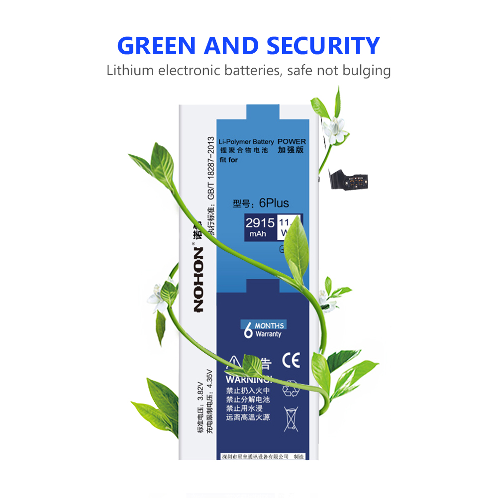 NOHON Phone Battery For Lithium Polymer Mobile Phone Batteries Real 3 82V 2915mAh iPhone 6 Plus 6Plus iPhone6 Plus 6 Free Tools in Mobile Phone Batteries from Cellphones Telecommunications